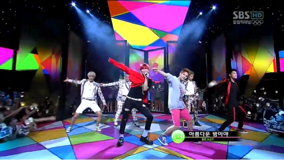 Pop group BEAST performs on the live music show Inkigayo. [Photo: http://www.soompi.com/2012/08/12/beast-performs-beautiful-night-on-inkigayo-2/]